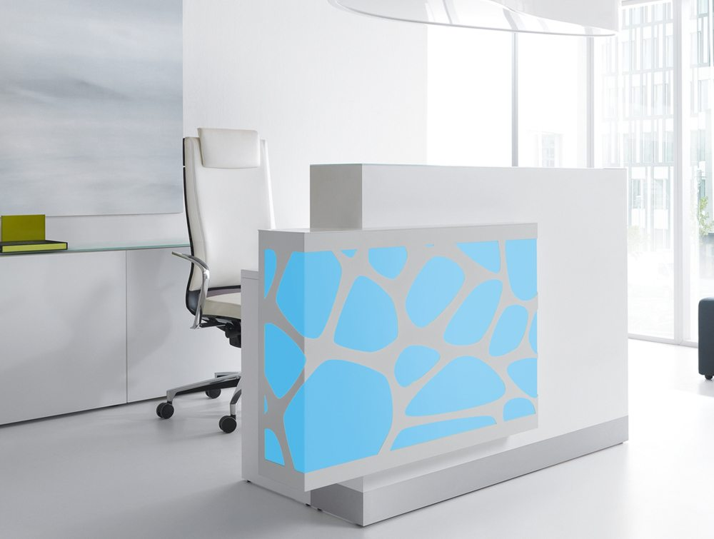 Organic lights reception desk in blue