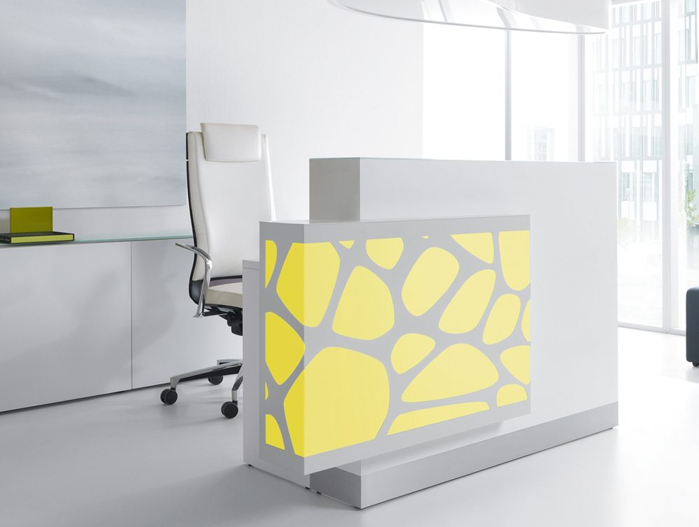 Organic lights reception desk in yellow