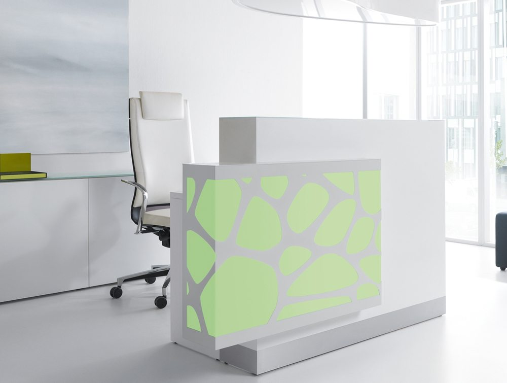 Organic lights reception desk in green