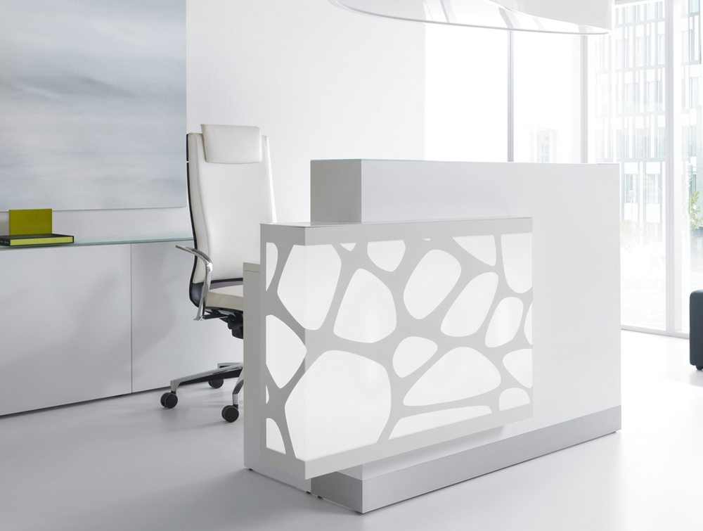 Organic lights reception desk in white