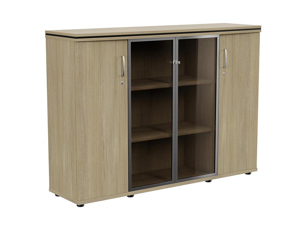 Oskar 3-Level Storage Unit with Glass Doors - Urban Oak