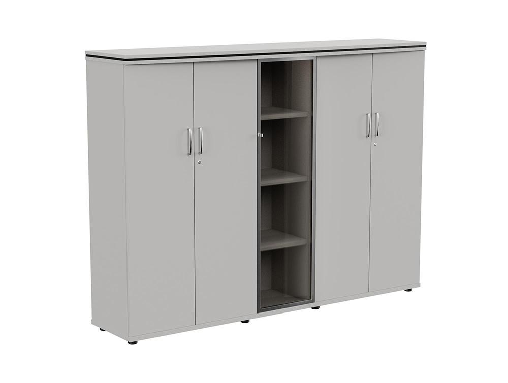 Oskar 4-Level Storage Unit with Glass Door - Grey