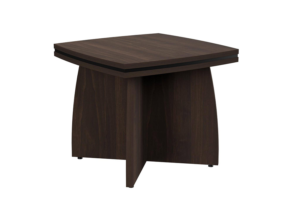 Oskar Coffee Table with Arrowhead Base - Dark Walnut