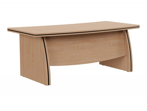 Oskar Executive Bow-Front Desk with Panel Legs in Beech