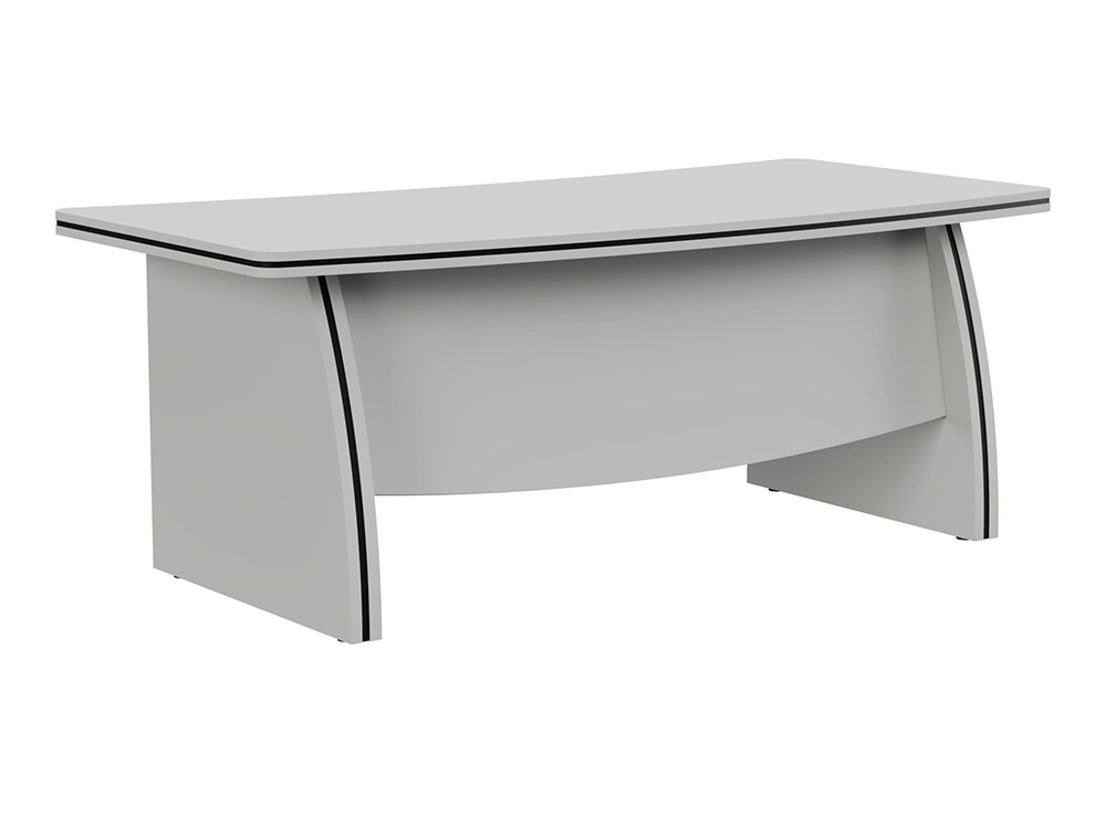 Oskar Executive Bow-Front Desk with Panel Legs - Grey