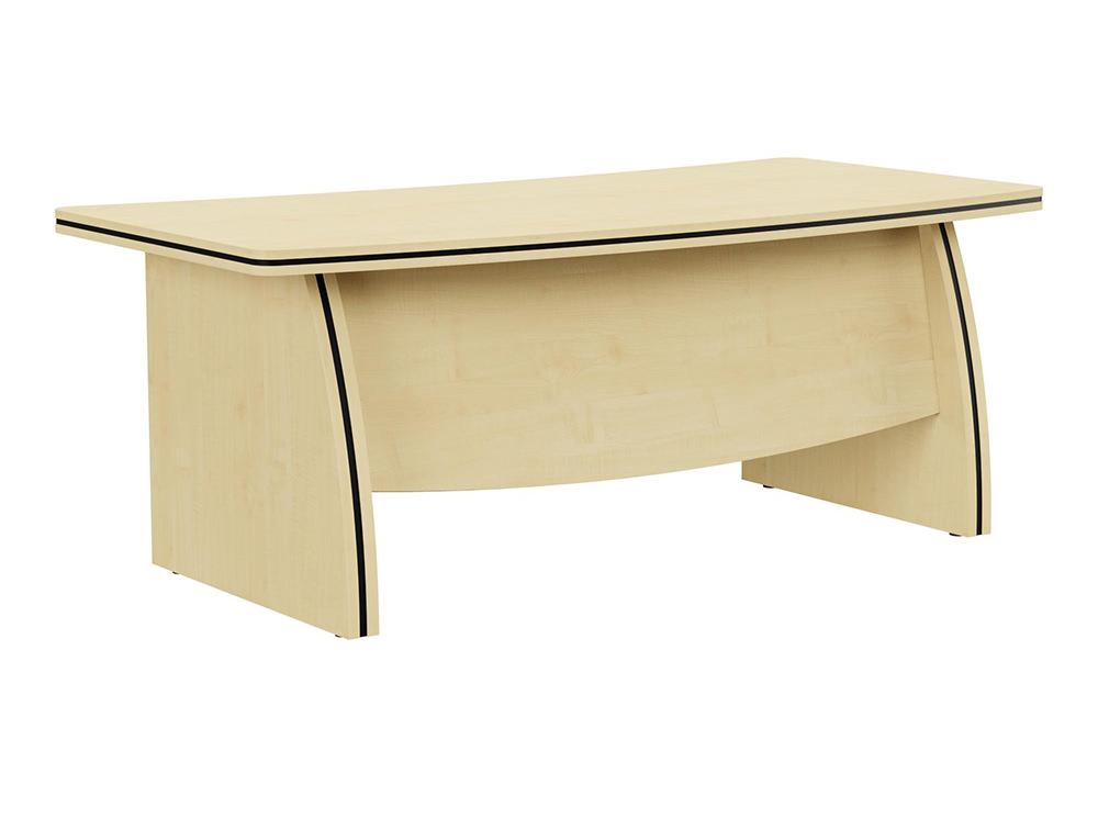 Oskar Executive Bow-Front Desk with Panel Legs - Maple