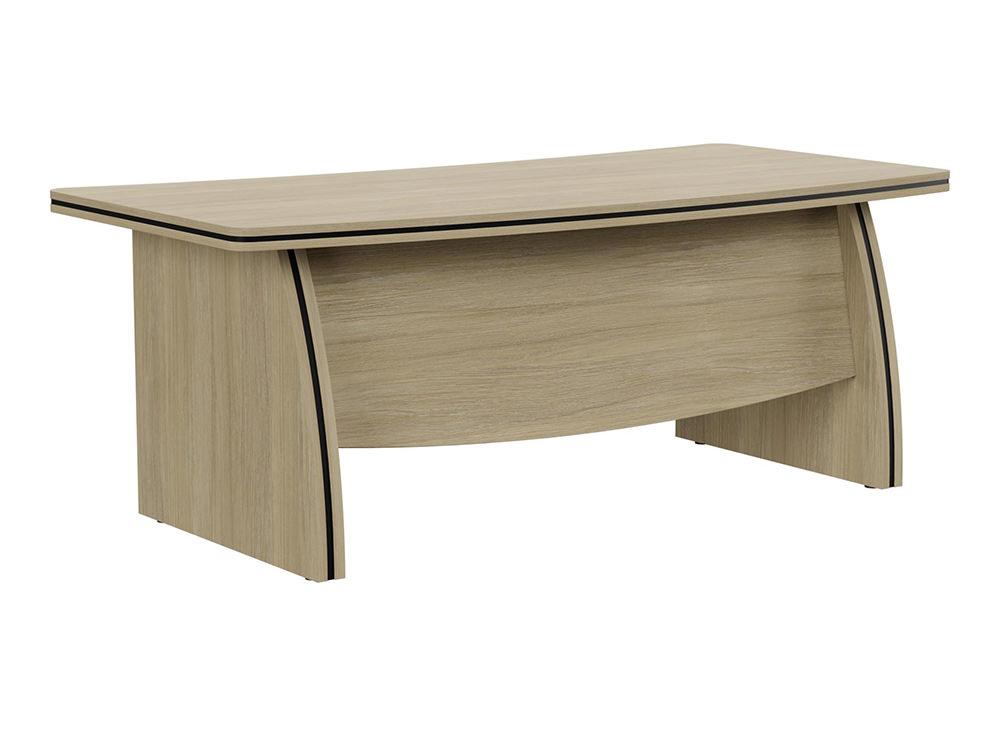 Oskar Executive Bow-Front Desk with Panel Legs - Urban Oak