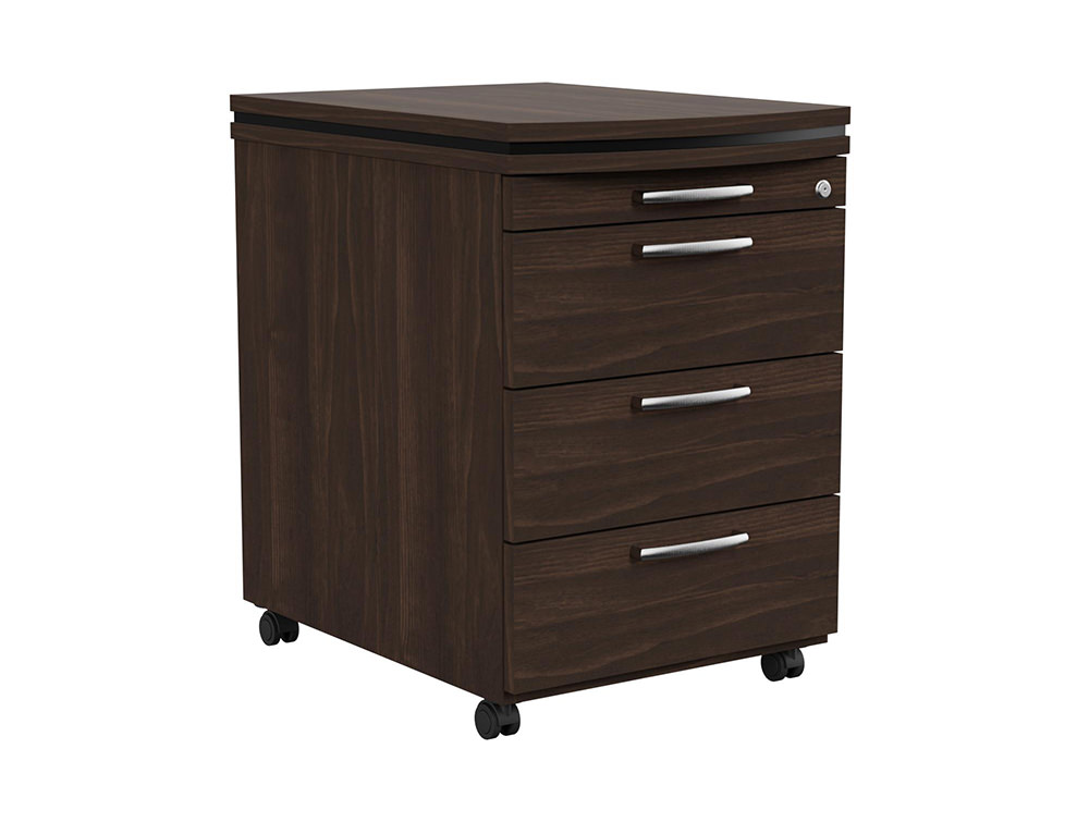 Oskar Executive Masterkey 4 Drawer Mobile Pedestal - Dark Walnut