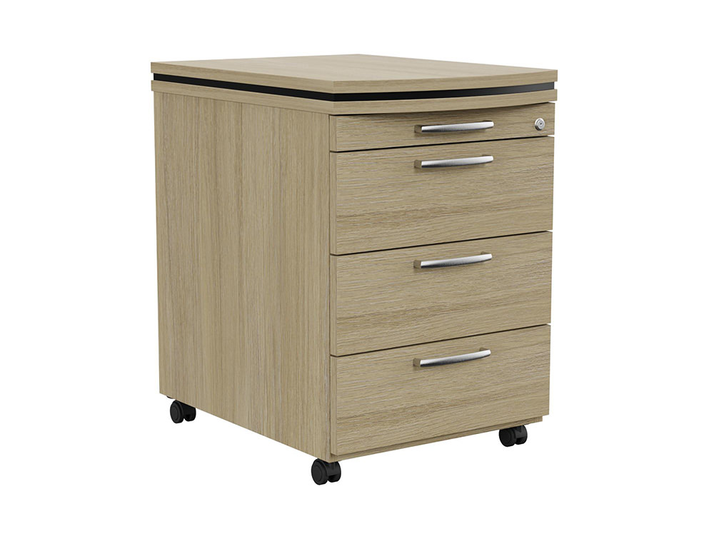 Oskar Executive Masterkey 4 Drawer Mobile Pedestal - Urban Oak