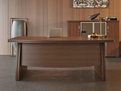 Oskar Executive Office Desk Bow Front with 3 Level Wooden Cupboard with Glass Door in Dark Walnut Finish