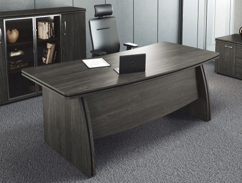 Oskar Executive Range with Bow Front Office Desk and 3 Levels Storage Unit in Carbon Walnut