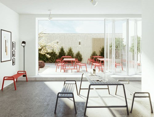 Osti Canteen Indoor and Outdoor Tabe and Benches in Red and Black for Terrace or Breakout Area
