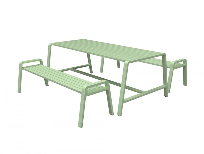 Osti Canteen Indoor and Outdoor Table and Bench in Light Green