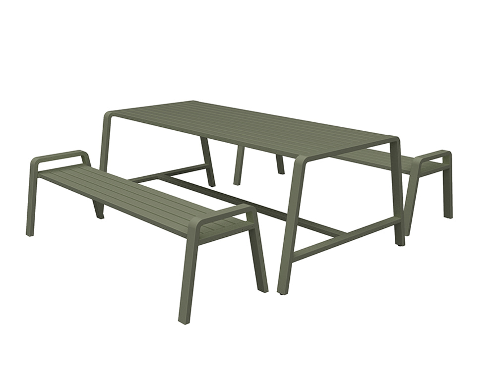 Osti Canteen Indoor and Outdoor Table and Benches in Khaki