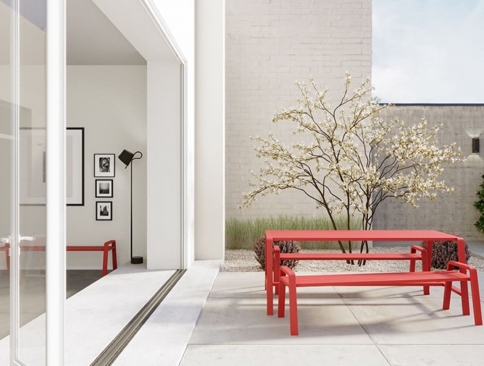 Osti Canteen Indoor and Outdoor Table and Benches in Red Terrace Office or Home