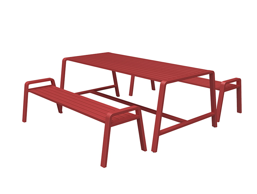 Osti Canteen Indoor and Outdoor Table and Benches in Red