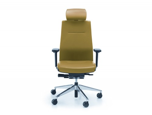 Profim one green ergonomic chair with user backbone based adjustable backrest with headrest