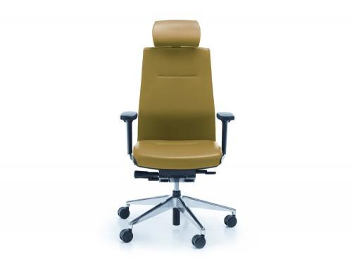 Profim one green ergonomic chair with user backbone based adjustable backrest with headrest