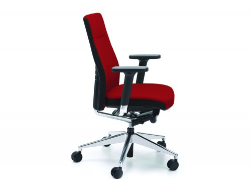 Profim one red ergonomic chair with user backbone based adjustable backrest without headrest