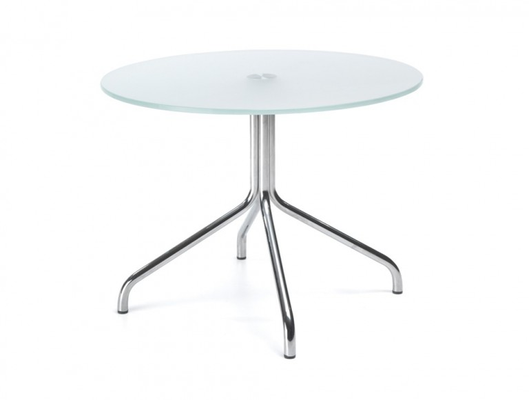 450mm height profim SH table with metal legs in tempered glass