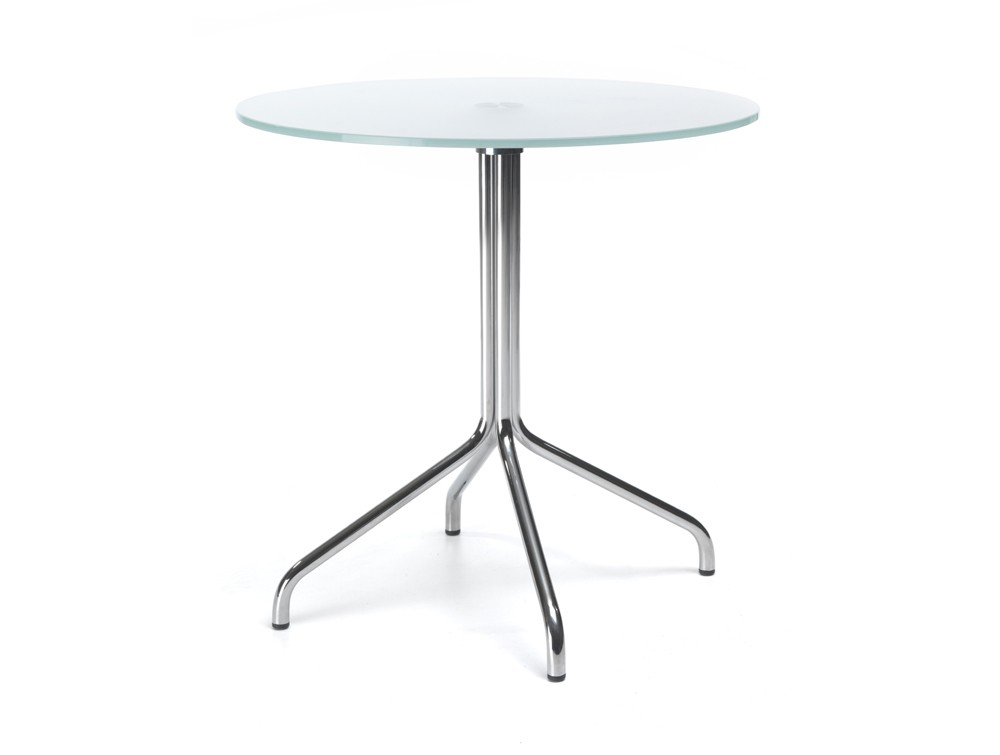 600mm height profim SH table with metal legs in tempered glass