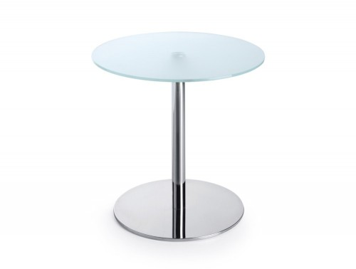 600mm height Profim SR table in tempered glass and round base