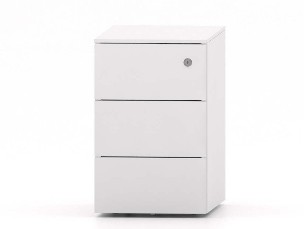 CUBE Narrow Low Steel Pedestal 3 Drawers 500 x 300 x 495 mm white PMS3530-WH