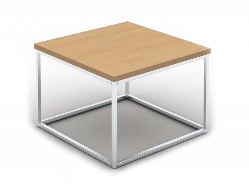 PT0606B Pitch Square Coffee Table with Closed Chrome Frame in Beech