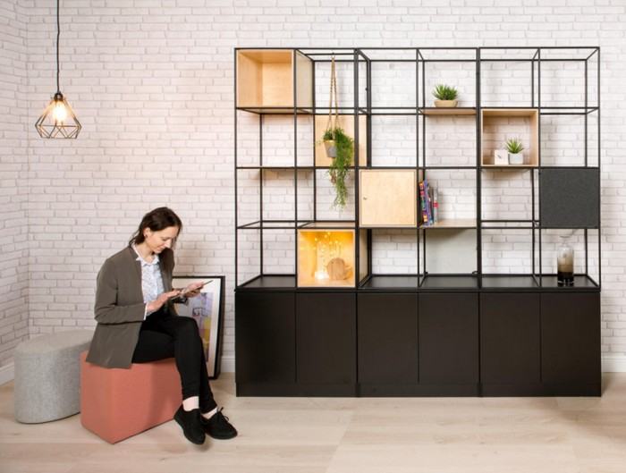 Palisades-Metal-Grid-Bookcases-with-Hanging-Plant-and-Locker-with-Flush-Lock