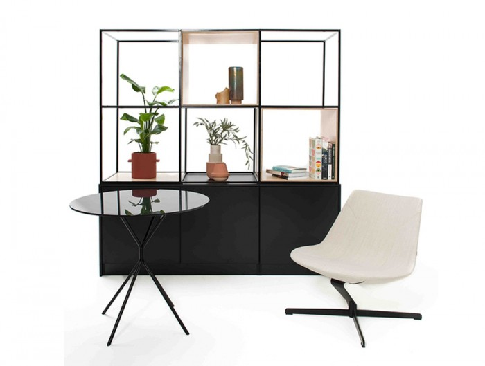 Palisades-Metal-Grid-Office-Space-Dividers-Bookcases-with-Round-Table-and-White-Chair