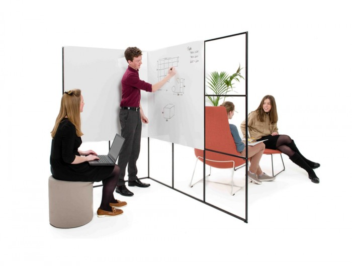 Palisades-Metal-Grid-Office-Space-Dividers-Meeting-Point-with-Lounge-Chair-and-Whiteboard