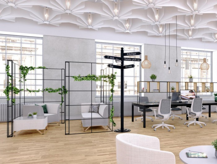 Palisades-Metal-Grid-Office-Space-Dividers-Relaxing-Area-with-Armchair-Tub-Chair