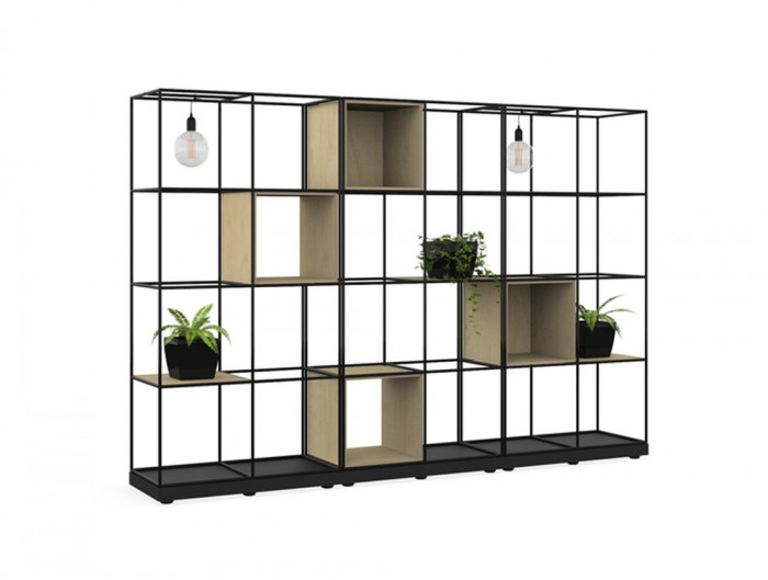 Palisades-Metal-Grid-Office-Space-Dividers-with-Alcoves-Pot-Plant-Shelf-and-Light
