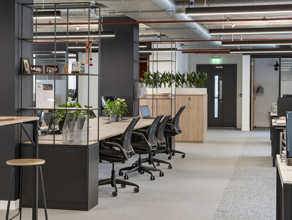 Palisades-Metal-Grid-Office-Space-Dividers-with-Double-Low-Cupboard-Storage-Desk-Chair-high-Stool