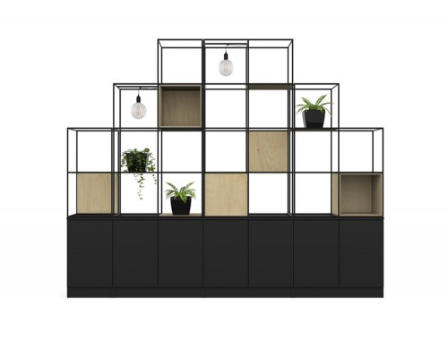 Palisades-Metal-Grid-Office-Space-Dividers-with-Low-Cupboard-Storage-Light-Alcove-Panel-Customisable