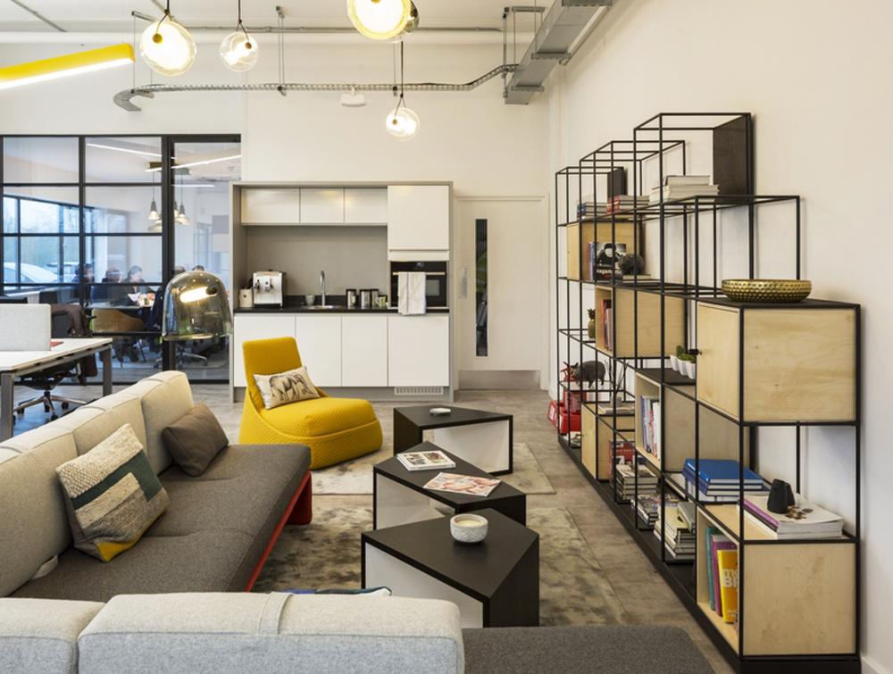 Palisades-Metal-Grid-Office-Space-Dividers-with-Storage-Locker-in-Break-Kitchen-Area