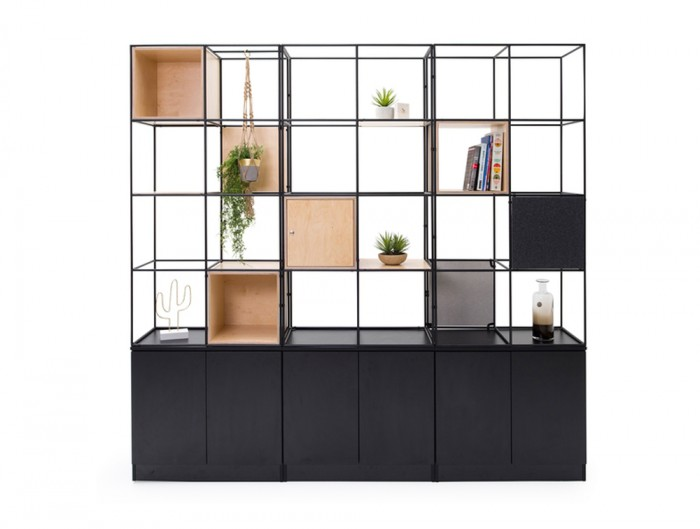 Palisades-Metal-Grid-Office-Space-Storage-with-Alcove-Locker-and-Hanging-Plant
