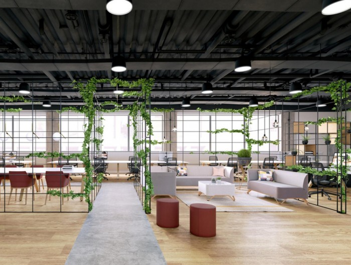 Palisades-Metal-Grid-Open-Plan-Office-Space-Dividers-with-Desk-Sofa-Table-Chair-Pouffe