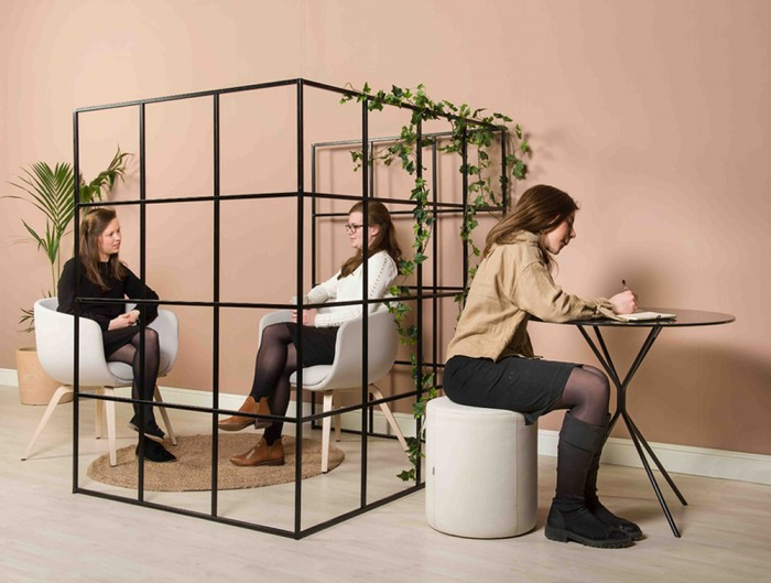 Palisades-Metal-Grid-Zoning-Separation-Space-with-Lounge-Chair-Round-Table-and-Pouffe