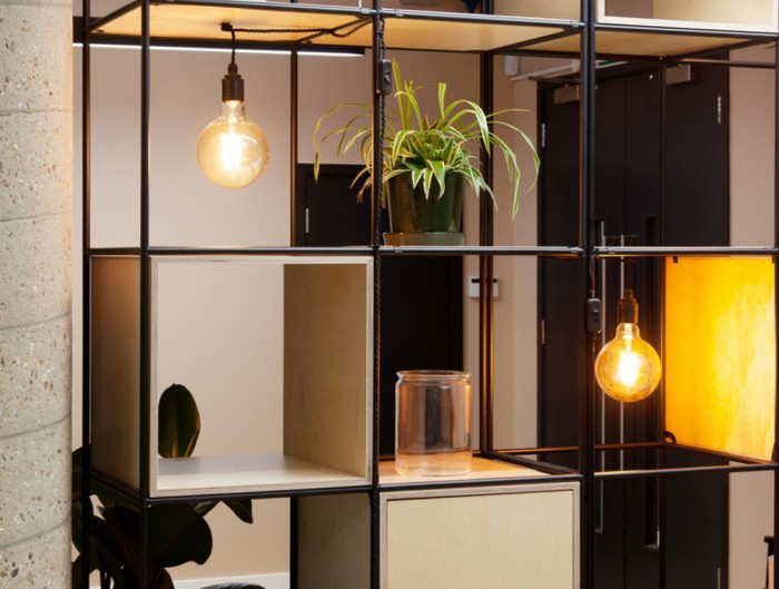 Palisades-Metal-Grid-office-Space-Dividers-with-Pot-Plant-Shelf-Alcove-and-Lighting