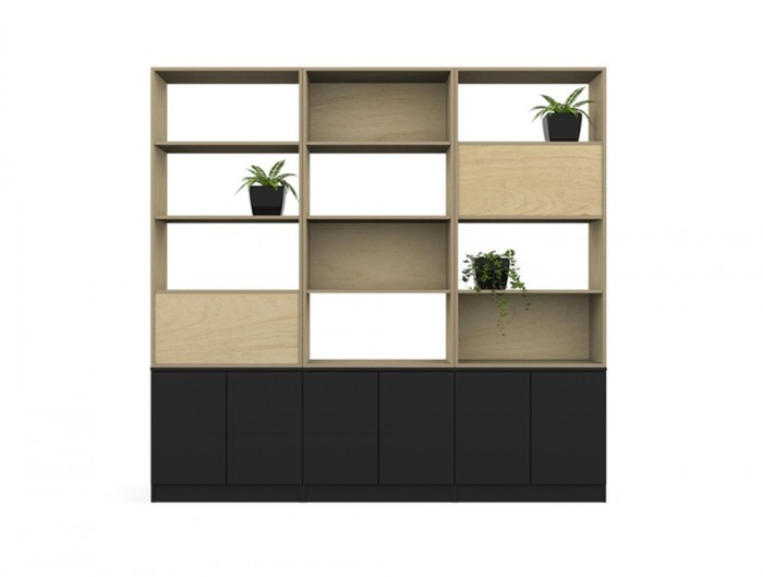 Palisades-Wooden-Gird-Office-Space-Dividers-with-Storage-Panel-and-Pot-Plant
