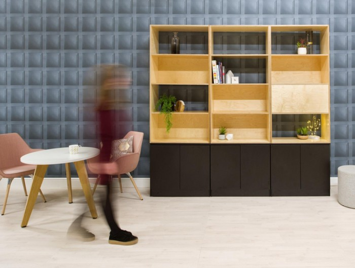 Palisades-Wooden-Grid-Bookcases-with-Storage-with-Round-Table-and-Canteen-Tub-Chair