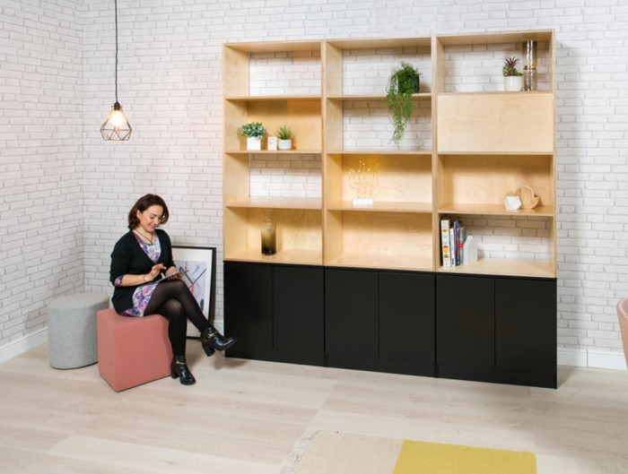 Palisades-Wooden-Grid-Built-In-Cabinet-with-Storage-Pink-and-Grey-Pouffes