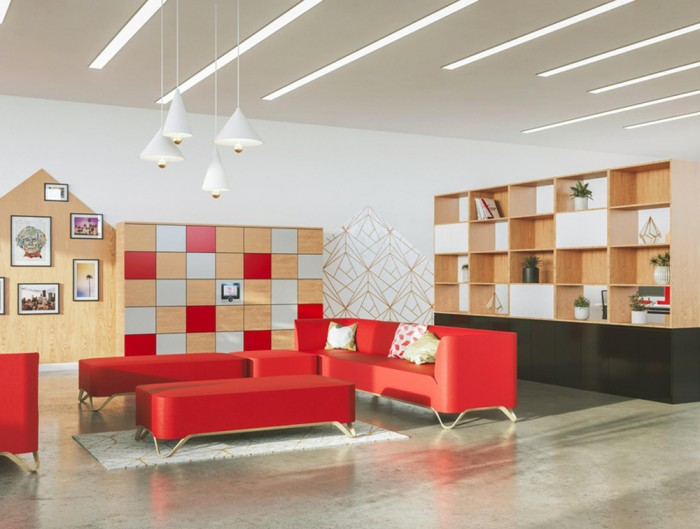 Palisades-Wooden-Grid-Room-Dividers-Relaxing-Area-with-HotLocker-Agile-and-Red-Sofas