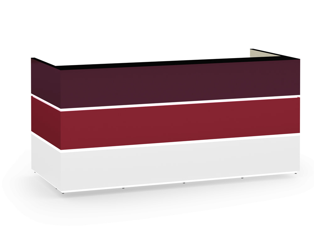 Pearl Modern Office Reception Desk Counter in Purple Red and Icy White with Glass Black Countertop