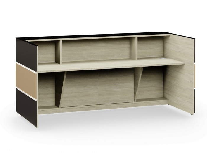 Pearl Office Desk Counter for Reception Area with Arctic Oak Wood Finish for Inner Elements