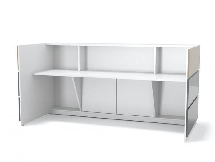 Pearl Office Reception Desk Unit With Inner Element in White Finish