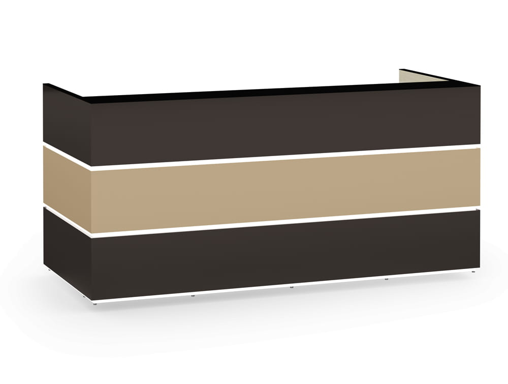 Pearl Reception Counter in Anthracite Cappuccino Finishes with Black Glass Countertop