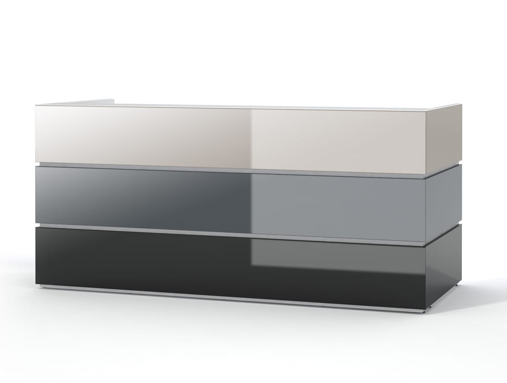 Pearl Stylish Office Desk Counter for Reception Area in Cappuccino Grey and Schwarz Finishes