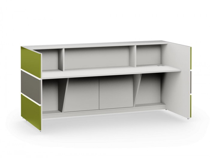 Pearl Stylish Office Reception Desk with Glass Countertop in Green and Grey Finishes